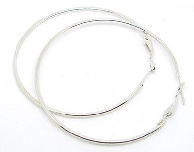 """90mm 3.5"""" Lever Back Silver Tone Large Round Fashion Hoop Earrings Women Jewelry"""