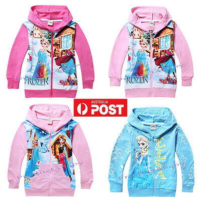 Girl Frozen Elsa & Anna Zipper Jumper Hooded Hoodie Jacket Size 2-8 years Cotton
