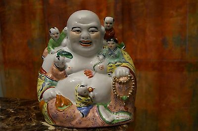 Large Antique Chinese Famille Rose Auspicious Buddha With 5 Children-Chop Marks!