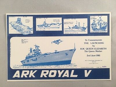 Ark Royal V Launching 1981 by Queen Mother - Limited Edition Carousel Postcard