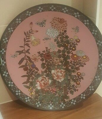 Huge Antique Japanese Enamel / Closisonnie Charger with Butterflies and flowers