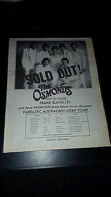 The Osmonds Rare Original Australia Asia Tour Promo Poster Ad Framed!