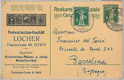 64108 - SWITZERLAND  - POSTAL HISTORY: POSTAL STATIONERY CARD  to SPAIN 1913