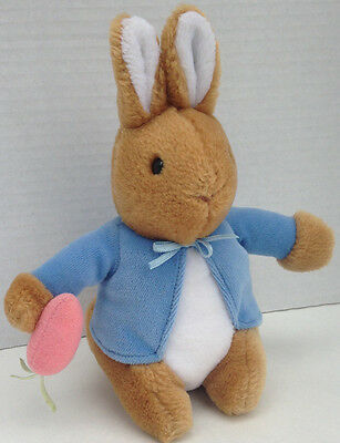 "PETER RABBIT Plush w Blue Jacket & Carrot - 7"" Tall Beatrix Potter - EDEN"