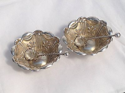 Superb Victorian Pair Of Solid Silver Salts And Spoons, 1898- Charles Horner.