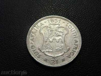 Rare South Africa Silver 2 Schilling /1 Florin 1951 King George VI KM# 38.2