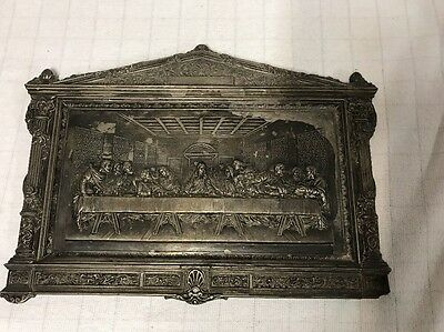 Antique 1923 Art Deco LV Aronson Metal Christian Wall Plaque Last Supper