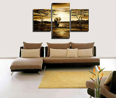 Home Decor Wall Art  elephant  Hand Painted Oil Painting on Canvas No Frame 3p