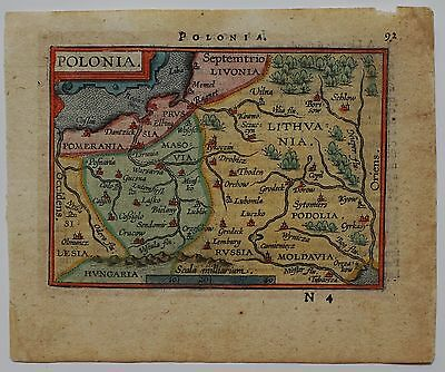 Poland 1601 Lithuania Belarus Russia Latvia Original Antique Map Ortelius