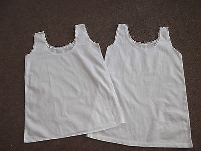 2 French Toddlers Simple White Cotton Underslips/Petticoats