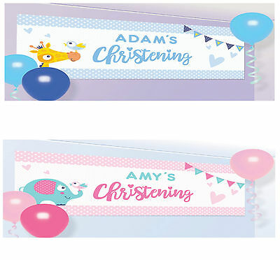Personalised Christening Banner Sign Party Decoration Baby Girl or Boy