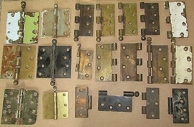 LOT of 20+ ANTIQUE BRASS SALVAGED PARTS HINGES, PINS, S.W., STANLEY, tHURMA-TRU