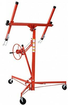 11' Foot Drywall Lift Panel Hoist Dry Wall Jack Lifter Lockable W/ Caster Red