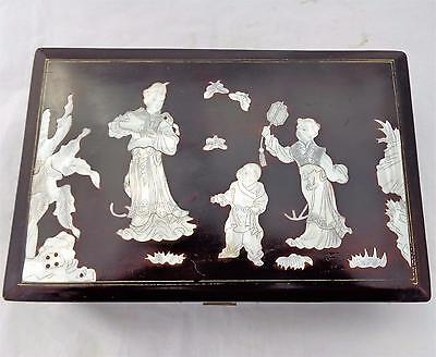 Vintage Chinese Lacquer Mother of Pearl Figured Top Jewellery Box Early 20th C