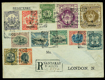 NORTH BORNEO 1904 Pictorials SURCHARGED set Sc#124-135 on REGISTERED cover to UK