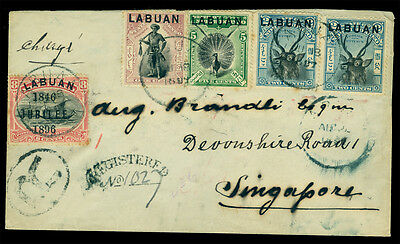 LABUAN 1897 Pictorials  Sc# 71-73(2), 76 on REGISTERED cover to Singapore