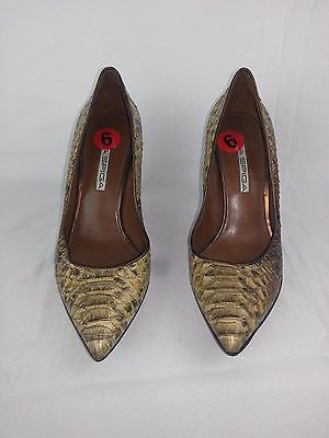"Via Spiga Women's Animal Print Tan & Brown Leather Pumps 3.5"" Heels Sz 9"