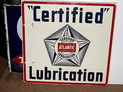 "Vintage 1953 Atlantic ""certified"" Lubrication 2 Sided Sign~N. Porcelain~V. Nice~"