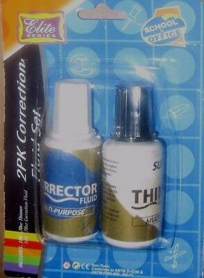 """Elite Series Correction Fluid Set- 2 Pack for """"School, Office and Home"""" NEW"""