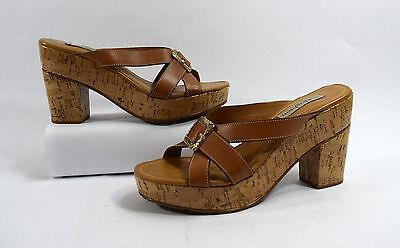 Brighton Brown Leather Open Toe Platform Heels/Sandals Size 8.5M