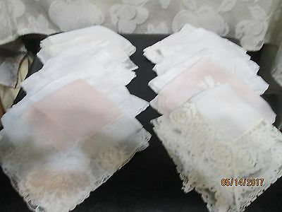 Vintage Lady's White & Blush Lace Trimmed/Embroidered  Handkerchiefs (Lot of 12)