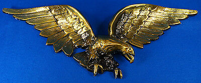 """Vintage Patriotic American Soaring Eagle Wall Hanging Plaque 25"""" Brass Finish"""