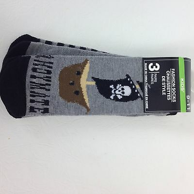 Set of 3 Kids Pirate Socks Size 9-11 Childrens Ship, Plain, Skull &Cross Bones