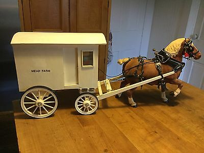 Breyer Horse Vintage Flocked Belgian Drafter Harness & Wagon RARE Extraordinary