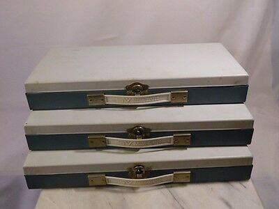 3 Vintage Metal Slide Trays SMITH VICTOR - No Inserts