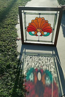 Antique Stained  Leaded  Glass Solid Oak  Frame  Dowel  Joints