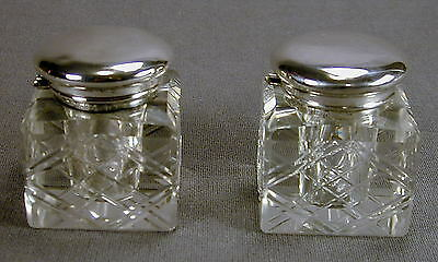 Crystal Inkwells with Sterling Silver Caps - Ship to North America Only