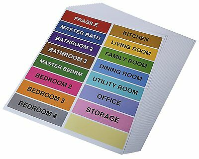 Home Moving Box Stickers Self Adhesive Color Coding Labels for Each Room, and