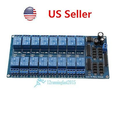 New 16-Channel 5V12V Relay Module Board For Arduino PIC AVR MCU DSP ARM PLC New!