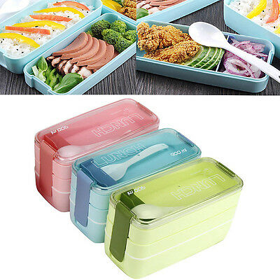 Portable 900ml 3 Layer Bento Oven Lunch Box Microwave Food Storage Container