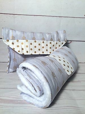 Nappy wallet/ diaper clutch & large waterproof change mat Grey gold arrows