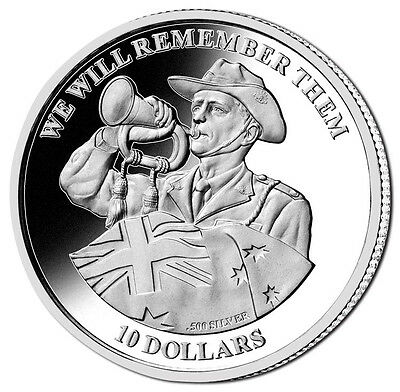 Kiribati 2012 Anzacs We Will Remember Them $10 Silver Proof With Certificate FDC