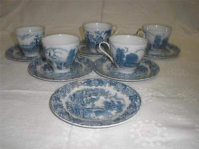 Stunning Blue & White Patterned Porcelain Cups X 5 Saucers X 6 Japan