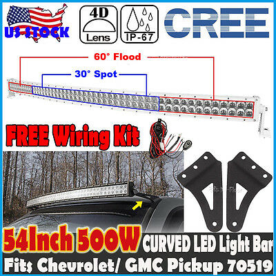 4D White 54inch 520W CREE Curved LED Light Bar Mount Brackets Fits Chevrolet GMC