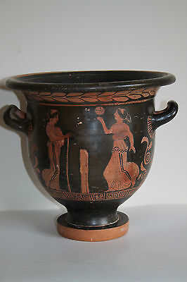 QUALITY ANCIENT GREEK CAMPANIAN RED FIGURE CRATER 4th c. BC GAMES MAGNA GRAECIA