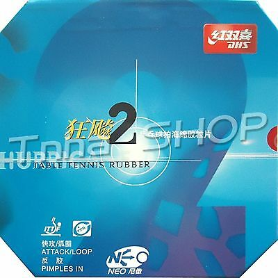 2x DHS NEO Hurricane 2 Pips-In Table Tennis Rubber with Sponge