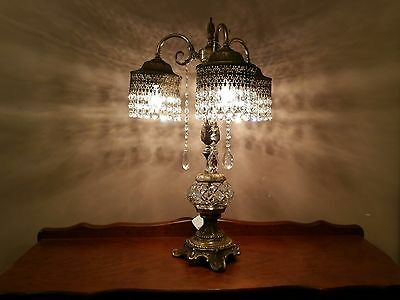 Vintage Brass and Crystal  Table Lamp.  Marrakesh Lamp