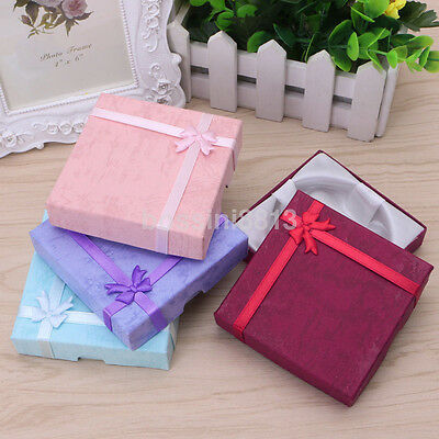 New Paper Square Package Bowknot Jewelry Necklace Bracelet Present Gift Box Case