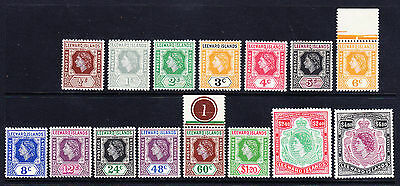 LEEWARD ISLAND QEII 1954 SG126/40 set of 15 - mounted mint. Catalogue £60