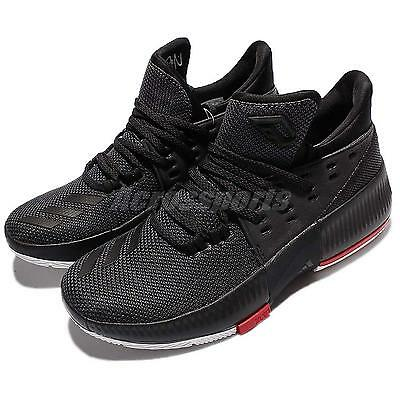 pretty nice badec 3b100 adidas D Lillard 3 J Damian Lillard Black Red Kids Junior Basketball Shoe  B49590
