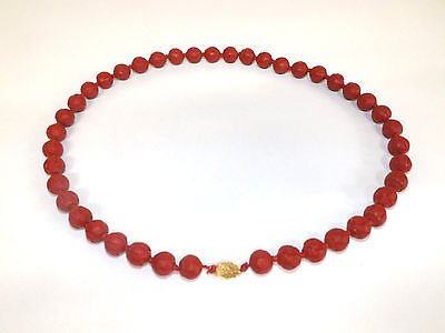 Vintage Carved Cinnabar Resin Bead Necklace