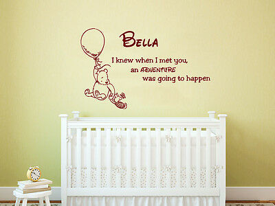 Winnie The Pooh Wall Decal Quote Personalized Name Vinyl