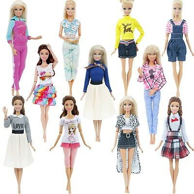 Lot Daily Dress Pants Skirt Shirt Fashion Outfit For Barbie Doll Clothes Gift G