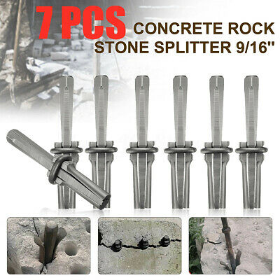 7Set 9/16'' Plug Wedges and Feather Shims Concrete Rock Stone Splitter Hand Tool