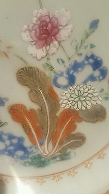 Antique 18th Century Chinese Porcelain Qianlong Octagonal Famille Rose Plate