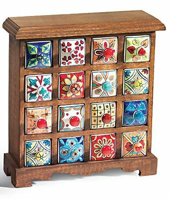 16 Drawer Ceramic Spice Storage Chest  Fair Trade Hand Crafted Mango Wood